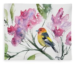 Watercolor - Western Tanager In A Flowering Tree Fleece Blanket