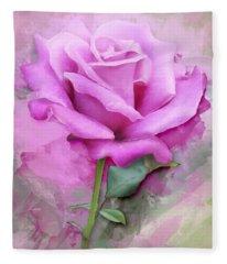 Watercolour Pastel Lilac Rose Fleece Blanket