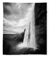 Waterfall In Iceland Black And White Fleece Blanket