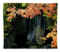 Waterfall In The Garden Fleece Blanket