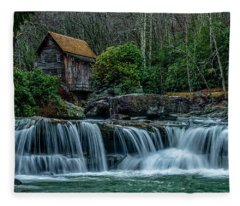 Waterfall In The Rain  Fleece Blanket