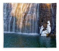 Waterfall In Winter Fleece Blanket