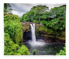 Waterfall Into The Valley Fleece Blanket