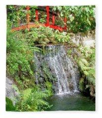 Waterfall With Red Bridge Fleece Blanket