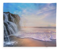 Waterfalls Into The Ocean Fleece Blanket