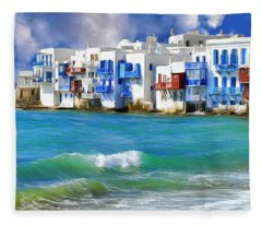 Waterfront At Mykonos Fleece Blanket