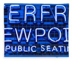 Waterfront Neon Pike Place Market Seattle Fleece Blanket