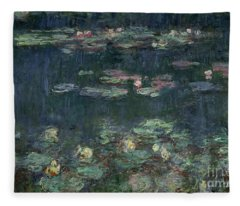 Waterlilies Green Reflections Fleece Blanket