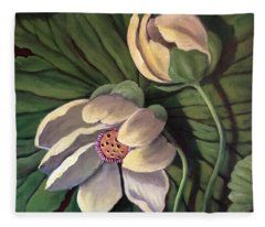 Waterlily Like A Clock Fleece Blanket