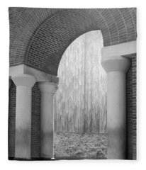 Waterwall And Arch 3 In Black And White Fleece Blanket
