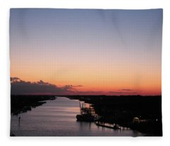 Waterway Sunset #1 Fleece Blanket
