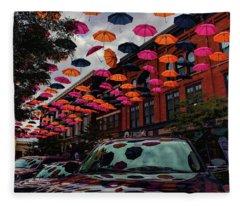 Wausau's Downtown Umbrellas Fleece Blanket