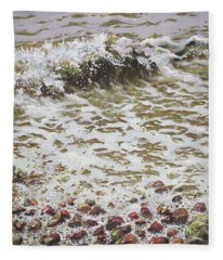 Wave And Colorful Pebbles Fleece Blanket