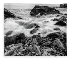 Waves Against A Rocky Shore In Bw Fleece Blanket