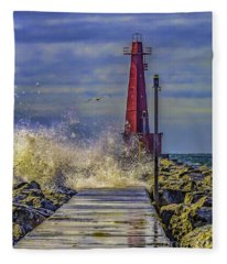 Waves At Muskegon South Breakwater Fleece Blanket