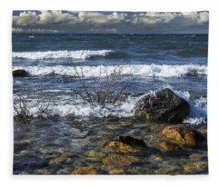 Waves Crashing Ashore At Northport Point On Lake Michigan Fleece Blanket