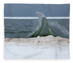 Waves Of Lake Michigan Fleece Blanket