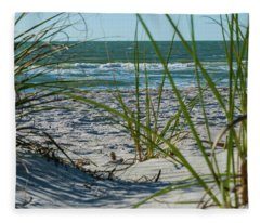 Waves Through The Grass Fleece Blanket