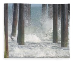 Waves Under The Pier Fleece Blanket