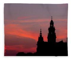 Wawel Castle And Cathedral Silhouette In Krakow Fleece Blanket
