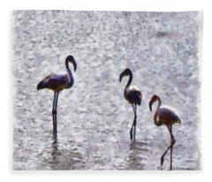 We Are The Three Flamingos Watercolor  Fleece Blanket