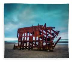 Weathered Rusting Shipwreck Fleece Blanket