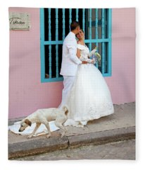 Wedding Couple With Dog Havana Cuba Fleece Blanket