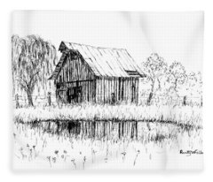 Weeping Willow And Barn Two Fleece Blanket