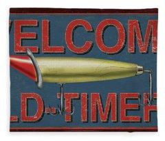 Welcome Fishing Sign Fleece Blanket