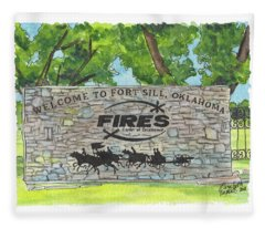 Welcome Sign Fort Sill Fleece Blanket
