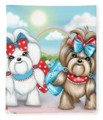 Welcome Spring Maltese And Yorkie Fleece Blanket