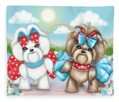 Welcome Spring Maltese And Yorkie Fleece Blanket