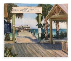 Welcome To Anna Maria Island City Pier Fleece Blanket