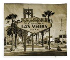 Welcome To Las Vegas Series Sepia Grunge Fleece Blanket