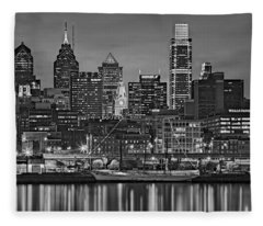 Welcome To Penn's Landing Bw Fleece Blanket