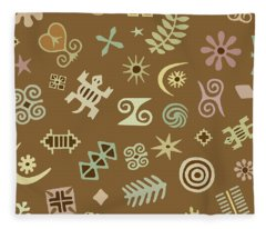 West African Adinkra Fleece Blanket