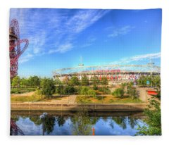 West Ham Olympic Stadium And The Arcelormittal Orbit  Fleece Blanket