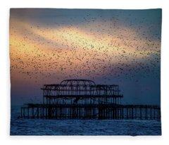 West Pier Murmuration Fleece Blanket