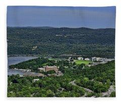 West Point From Storm King Overlook Fleece Blanket