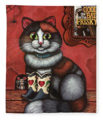 Western Boots Cat Painting Fleece Blanket
