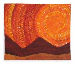 Western Sky Wave Original Painting Fleece Blanket