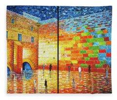 Western Wall Jerusalem Wailing Wall Acrylic Painting 2 Panels Fleece Blanket