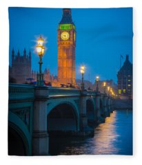 Westminster Bridge At Night Fleece Blanket