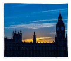 Westminster Parlament In London Golden Hour Fleece Blanket