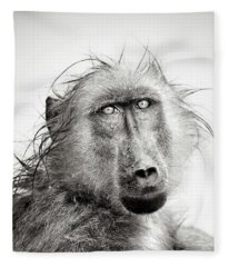 Wet Baboon Portrait Fleece Blanket
