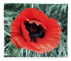Wet Poppy Fleece Blanket