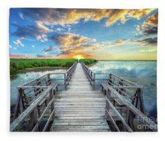 Wetland Marsh Sunrise Treasure Coast Florida Boardwalk A1 Fleece Blanket