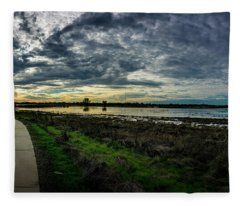 Wetlands Sunset Panorama Fleece Blanket