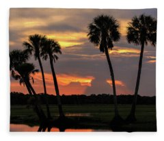 Wetlands Sunset Fleece Blanket