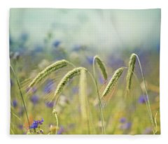 Wheat And Corn Flowers Fleece Blanket